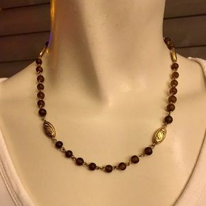 Handmade Gold-Tone Brown Beaded Necklace